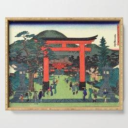 Fushimi Inari Shrine by Hasegawa Sadanobu - Japanese Vintage Ukiyo-e Woodblock Painting Serving Tray