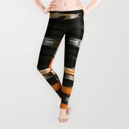 black and orange 01 Leggings