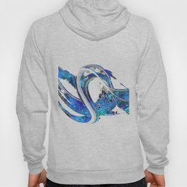 Blue And White Abstract Art - Wave 1 - Sharon Cummings Hoody