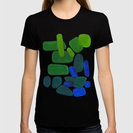 Mid Century Vintage Abstract Minimalist Colorful Pop Art Phthalo Blue Lime Green Pebble Shapes T-shirt
