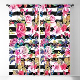 Cute spring floral and stripes watercolor pattern Blackout Curtain