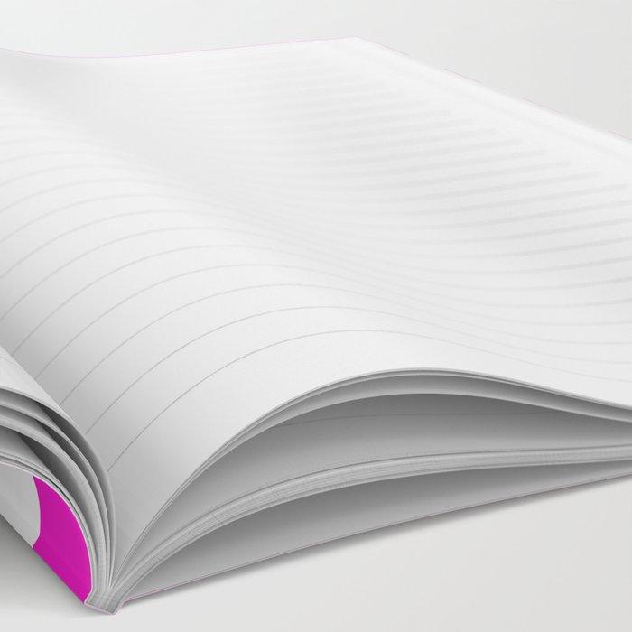 Horizontal Stripes (Hot Magenta/White) Notebook