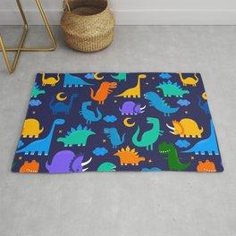 Dinosaurs At Night Blue Orange Green Dinosaur Kids Pattern Rug