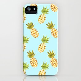 Blue Tropical Pineapple Pattern iPhone Case