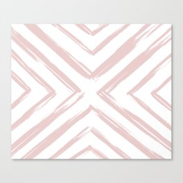 Minimalistic Rose Gold Paint Brush Triangle Diamond Pattern Canvas Print