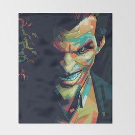 Joker Pop Art Portrait Throw Blanket