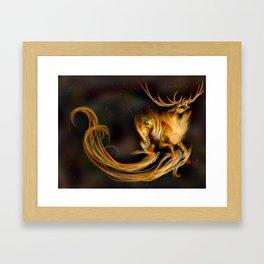 Fire elemental stag Framed Art Print
