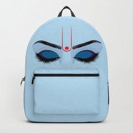 Indian god krishna eyes on blue skin Backpack
