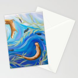 Two Swirly Otters Stationery Cards