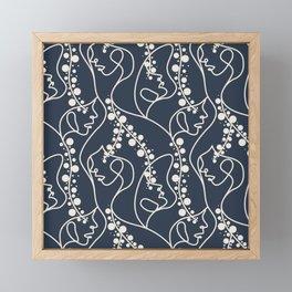 Face One Line Pattern Framed Mini Art Print