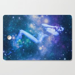 Blue Galaxy Woman : Nude Art Cutting Board