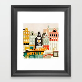 Amsterdam travel city shapes abstract Framed Art Print