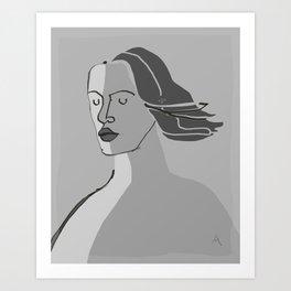 Model Breeze B&W Art Print