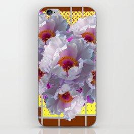 COFFEE BROWN YELLOW WHITE TREE PEONY FLOWERS iPhone Skin