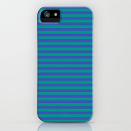 Even Horizontal Stripes, Teal and Indigo, S iPhone Case