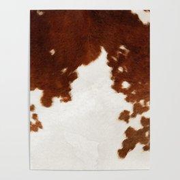 brown cowhide watercolor Poster