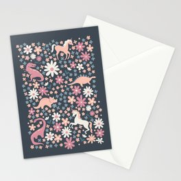 Floral Burst of Dinosaurs and Unicorns in Mauve + Peach Stationery Cards