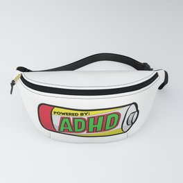 POWERED BY ADHD impulsivitiy hyperfocus impulse Fanny Pack