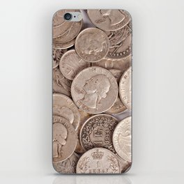 Silver Coins Collection iPhone Skin