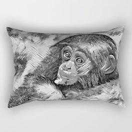AnimalArtBW_Chimpanzee_20170604_by_JAMColorsSpecial Rectangular Pillow