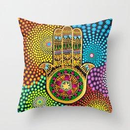 Hamsa Hand, hand of fatima, mandala, yoga art, mandala art, meditation art Throw Pillow
