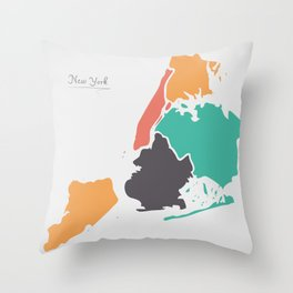 New York Map with boroughs and modern round shapes Throw Pillow