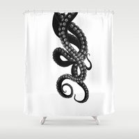 kraken Shower Curtains featuring Get Kraken by Alrkeaton
