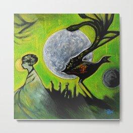 Space Birds Green Planet Metal Print