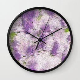 Purple - Lavender Fluffy Floral Abstract Wall Clock