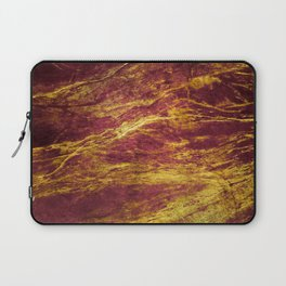 Classic Vintage Red Faux Marble With Gold Veins Laptop Sleeve
