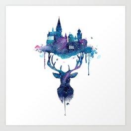 Always - Magical Deer in a Wizard World in watercolor Art Print