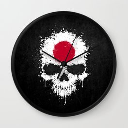 Flag of Japan on a Chaotic Splatter Skull Wall Clock