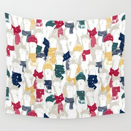 Happy llamas Christmas choir Wall Tapestry