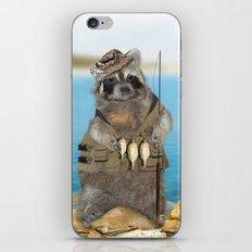 Raccoon Fisherman iPhone & iPod Skin
