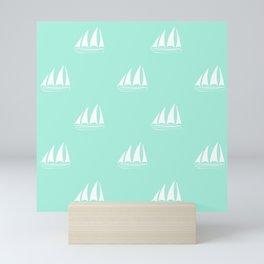 White Sailboat Pattern on seafoam blue background Mini Art Print