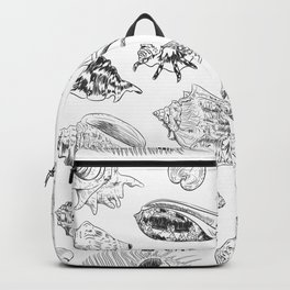 collection of sea shells, black contour on white background Backpack