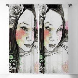 Treasure (young cute girl, magnolia & mandalas) Blackout Curtain