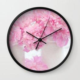 Romantic Shabby Chic Pink Peonies White Jars   Wall Clock