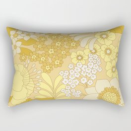 Yellow, Ivory & Brown Retro Floral Pattern Rectangular Pillow