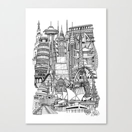 the world / black and white Canvas Print