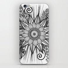 Sunflower Doodle on bright bold background iPhone & iPod Skin