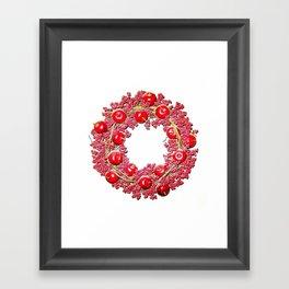 Bright Red Cherry Apple Wreath Framed Art Print