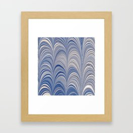 Marbled Blue and Gold Fountain Framed Art Print