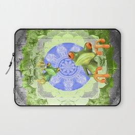 Trippy Texture Tree Frog Boho Mandala Laptop Sleeve