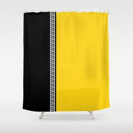 Greek Key 2 - Yellow and Black Shower Curtain
