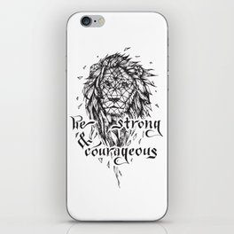 Be Strong & Courageous, Geometric Lion iPhone Skin