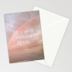My grace is sufficient...2 Corinthians 12:9 - Bible verse (rainbow) Stationery Cards
