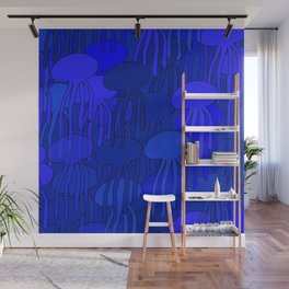Jellyfish Blue Wall Mural