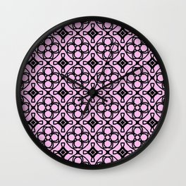 Pink decorative tiles Wall Clock