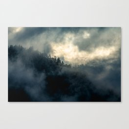 Mountains in the fog Canvas Print